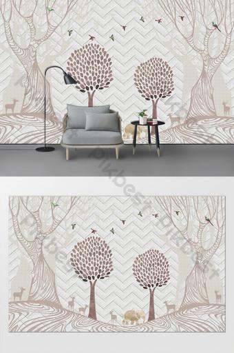 北歐簡約森林麋鹿客廳臥室背景牆 裝飾·模型 模板 PSD
