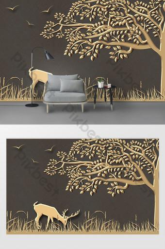 現代簡約金屬鐵藝場景大樹牛浮雕背景牆 裝飾·模型 模板 PSD