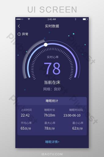 Interface de statistiques de sommeil de données en temps réel de tableau de bord de style minimaliste violet UI Modèle PSD