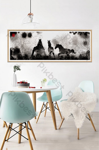 النمط الصيني رسمت باليد لون فاتح دفقة الحبر الحصان المناظر الطبيعية غرفة المعيشة دراسة الديكور اللوحة الديكور والنموذج قالب PSD