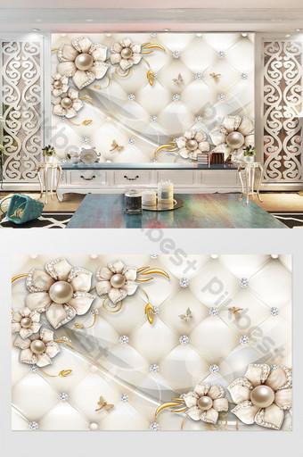 الموضة الحديثة والمجوهرات الفاخرة زهرة فراشة الماس لينة المجمع نمط خلفية الجدار الديكور والنموذج قالب PSD