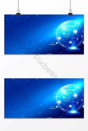 Blue earth technology sense lines internet information age background Backgrounds Template PSD