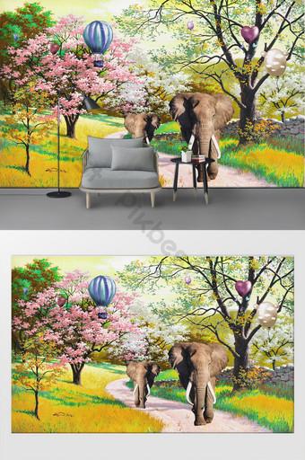 歐式簡約大樹風景油畫客廳臥室背景牆 裝飾·模型 模板 PSD