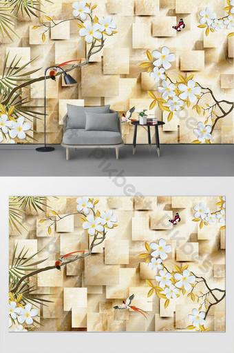 個性定製石材花紋玉蘭花客廳臥室背景牆裝飾畫 裝飾·模型 模板 PSD