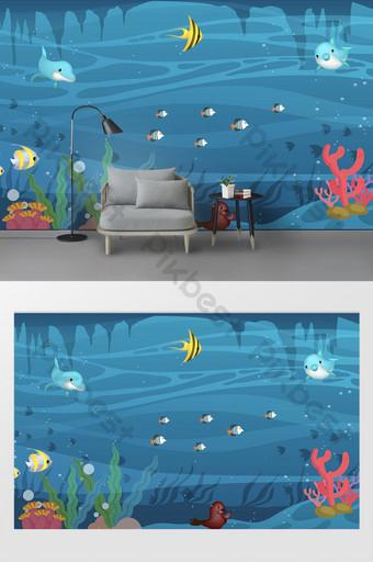 البحر الأبيض المتوسط العالم تحت الماء المملكة الكرتون غرفة الأطفال خلفية الجدار الديكور والنموذج قالب PSD