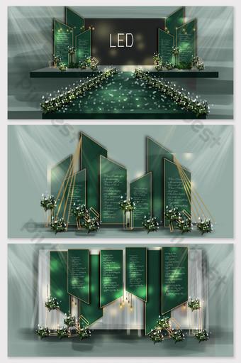 مرحلة الزفاف الذهب الأخضر مرسومة باليد الديكور والنموذج قالب PSD