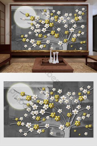 النمط الصيني تصور فني نمط الإغاثة زهرة فرع القمر الذهبي خلفية رمادية الجدار الديكور والنموذج قالب PSD