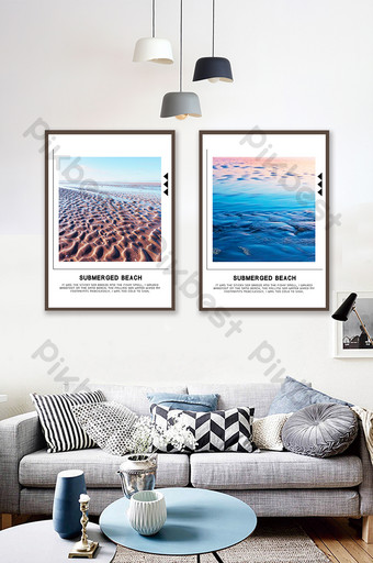 Beautiful sea beach natural scenery hotel double decoration painting Decors & 3D Models Template PSD