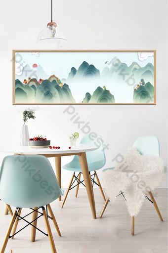 Antique vector mountain peaks clouds sea autumn landscape plant decorative painting Decors & 3D Models Template PSD