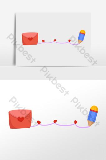dibujado a mano dibujos animados carta de amor lápiz línea divisoria ilustración Elementos graficos Modelo PSD