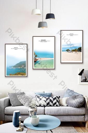 北歐風格風格海岸線風光客廳臥室酒店裝飾畫 裝飾·模型 模板 PSD