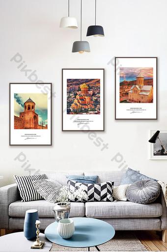 بسيطة الأوروبية الجميلة مشهد القلعة غرفة المعيشة غرفة نوم فندق الديكور اللوحة الديكور والنموذج قالب PSD