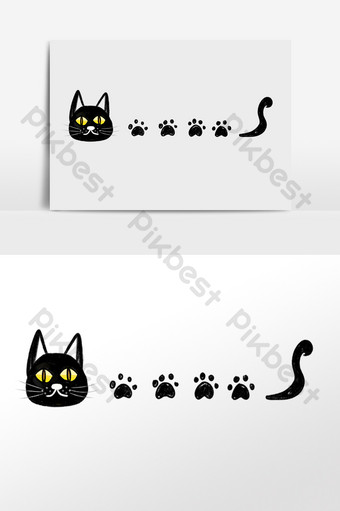 dibujado a mano dibujos animados gato negro huella línea divisoria ilustración Elementos graficos Modelo PSD