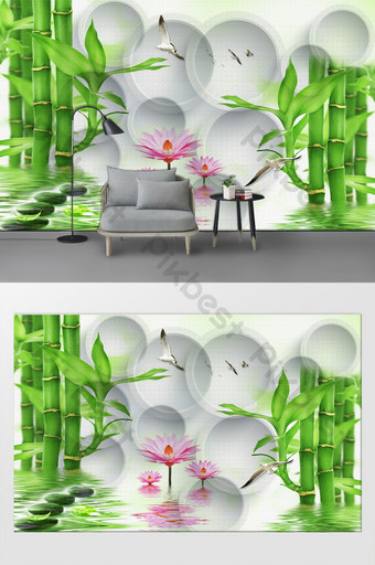 3d tiga dimensi lingkaran dinding latar belakang sofa ruang tamu bambu sederhana dan kaya Dekorasi dan model Templat PSD