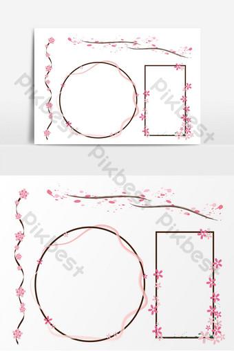 temporada de flor de cerezo rosa hermosa frontera decorativa de vector ai simple Elementos graficos Modelo AI