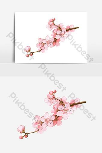 primavera romántica temporada de flor de cerezo sakura flor vector elementos dibujados Elementos graficos Modelo AI