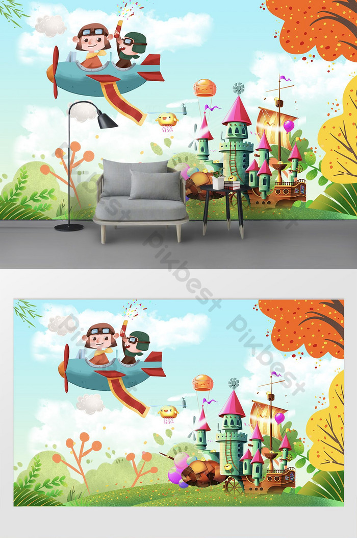 Simple forest big tree amusement park cartoon room wall | Decors