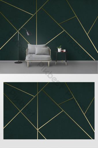現代簡約幾何三維金線臥室背景牆 裝飾·模型 模板 PSD