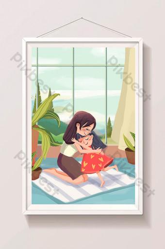 母親節媽媽愛媽媽兒童女孩小清新卡通插畫 插畫 模板 PSD