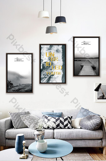 Jane European classic black and white mountains rivers sea scenery living room bedroom decoration painting Decors & 3D Models Template PSD