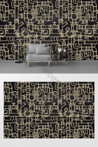 جديد الحد الأدنى الحديثة الذهب الحديد المطاوع رسمت باليد أنابيب العادم جدار خلفية الصناعية الديكور والنموذج قالب PSD