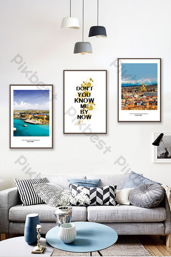 Nordic style seaside city architectural landscape living room bedroom decoration painting Decors & 3D Models Template PSD