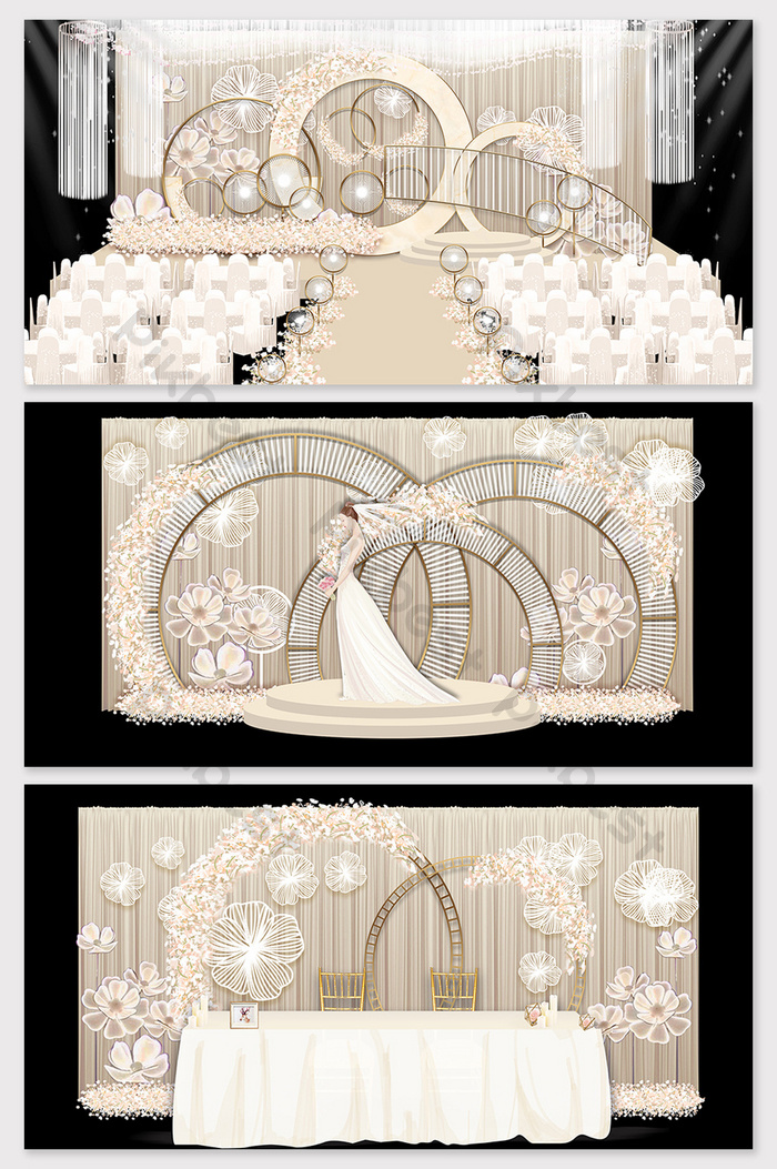 modern simple champagne color beautiful european style wedding renderings