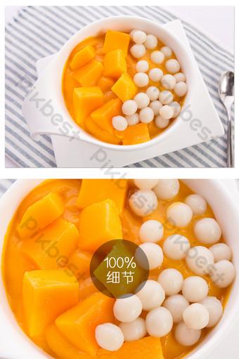 كرات المانجو هونغ كونغ نمط الحلوى الصغيرة الطازجة الغذاء الأبيض التصوير الفوتوغرافي عالي الدقة التصوير قالب JPG