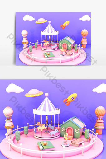 c4d卡通旋轉木馬游樂場舞台小場景模型 裝飾·模型 模板 C4D