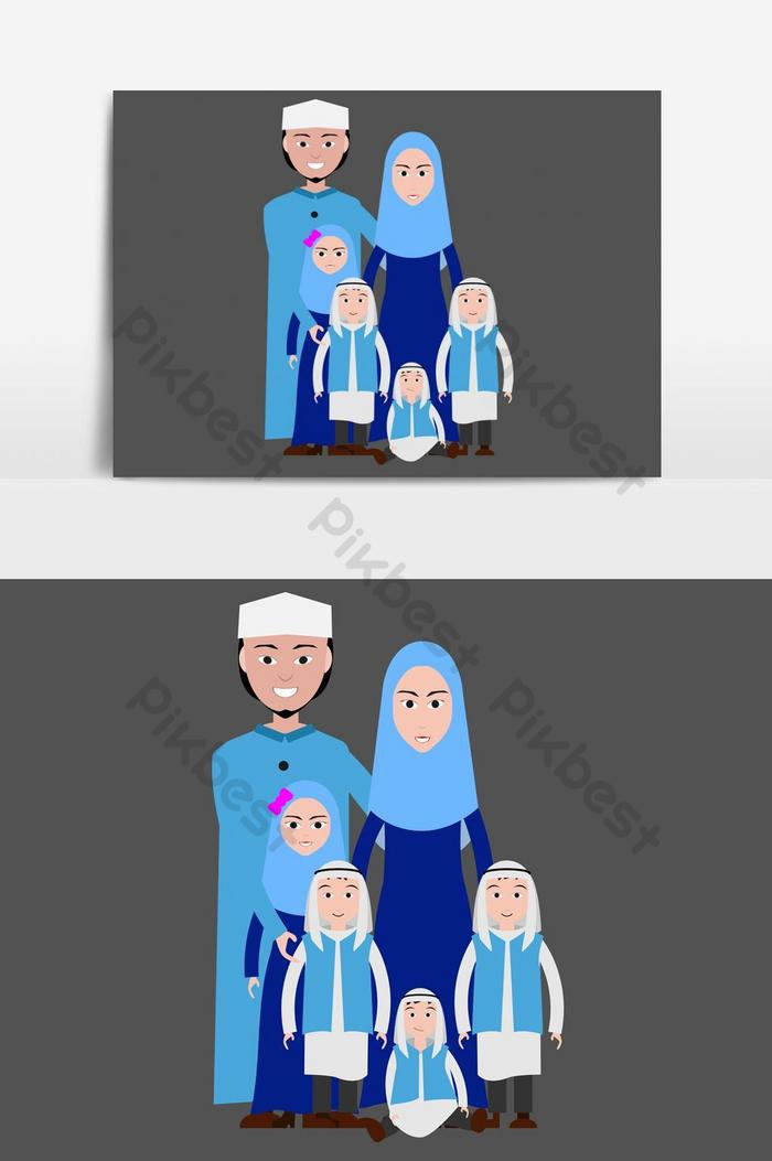 Muslim Family Cartoon Image Islamic Attire Png Images Ai Free Download Pikbest