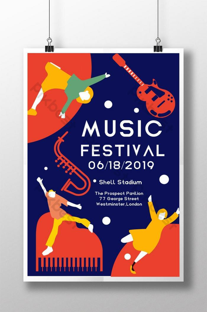 Music Festival Hand Drawn Colored Style Poster Psd Free Download Pikbest