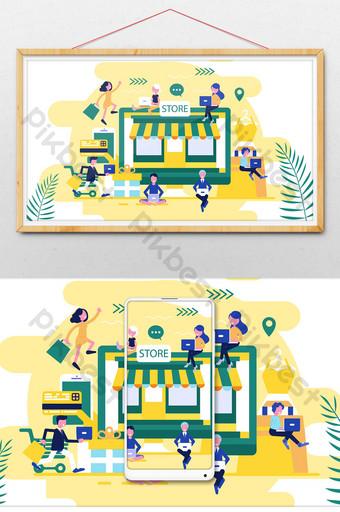 tienda en línea compras en línea comercio electrónico oficina de negocios plano gif ilustración Ilustración Modelo PSD