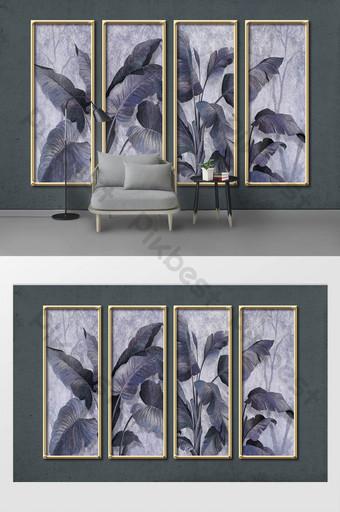 الحد الأدنى الحديثة الجديدة مرسومة باليد أوراق الموز ثلاثي الأبعاد جدار إطار الذهب الحديد الديكور والنموذج قالب PSD