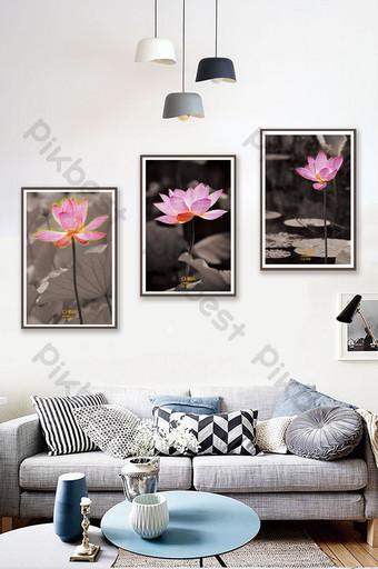 中式黑白荷花風景客廳臥室酒店裝飾畫 裝飾·模型 模板 PSD