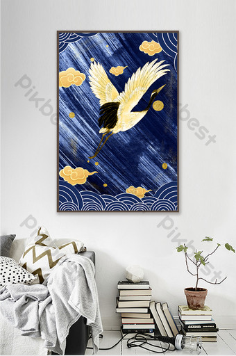 New Chinese style decorative painting gold leaf crane golden cloud abstract sea wave Decors & 3D Models Template TIF