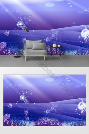 moderno pintado a mano abstracto algas marinas escuela de peces medusas tv fondo pared Decoración y modelo Modelo PSD