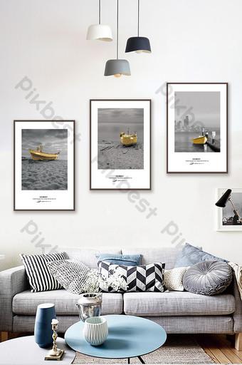簡約歐式黑白金色船舶風景客廳臥室酒店裝飾畫 裝飾·模型 模板 PSD