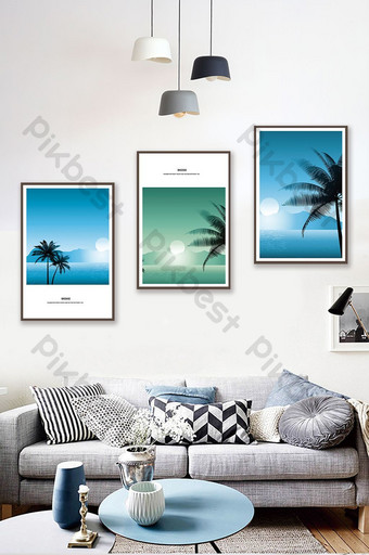 Simple European City Architecture Sea View Living Room Bedroom Hotel Decoration Painting Decors & 3D Models Template PSD