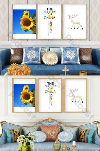 手繪簡約歐式植物向日葵風景客廳臥室裝飾畫 裝飾·模型 模板 PSD