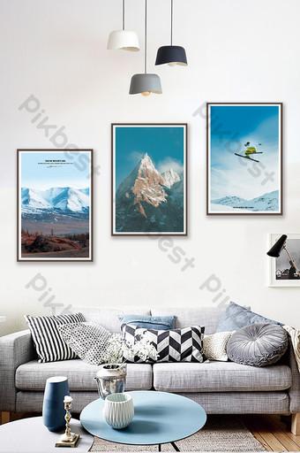 nórdico nieve montaña esquí paisaje sala de estar dormitorio hotel decoración pintura Decoración y modelo Modelo PSD