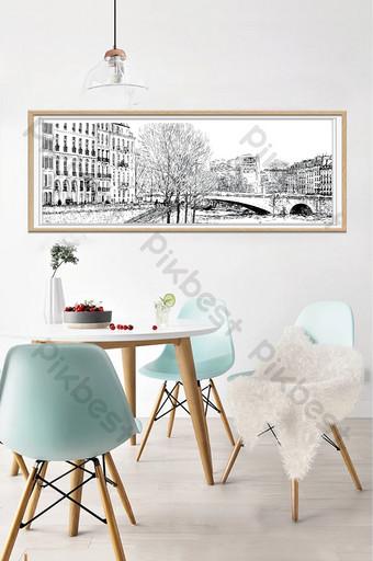 Garis Gambar Pensil Gambar Desain Untuk Dekorasi Dinding Dan