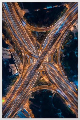 Carte de piste de voiture décalée en forme de X de l'élévation du nord-sud Yan une route à Shanghai La photographie Modèle JPG