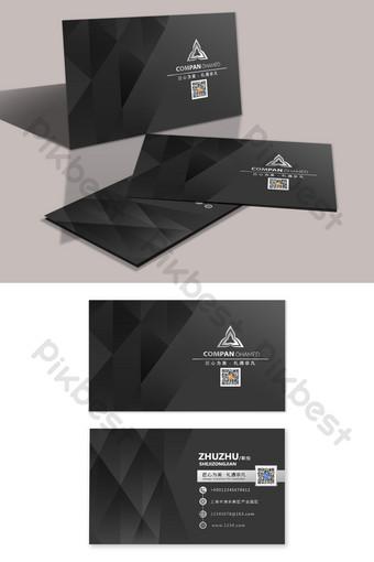 Carte de visite architecte géométrique haut de gamme noir Modèle PSD