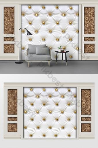 新現代白色石膏線皮革軟包歐式花紋背景牆 裝飾·模型 模板 PSD