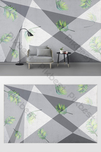 New modern geometric segmentation green leaf nordic background wall Decors & 3D Models Template PSD