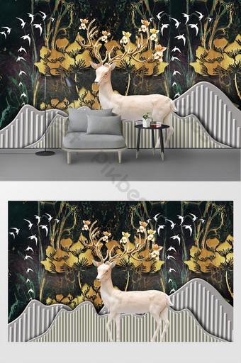 modern nordic relief landscape dinding latar belakang rusa Dekorasi dan model Templat PSD