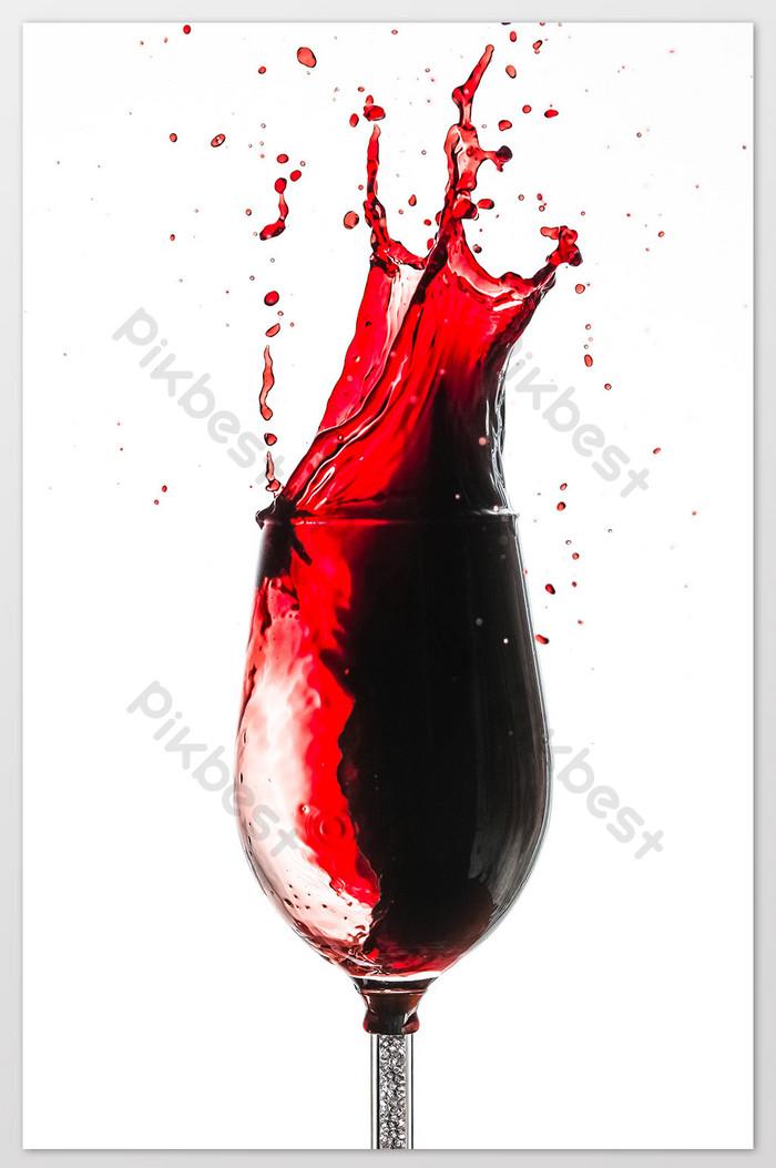 Pouring Red Wine Glass Water Splash Splash Still Life