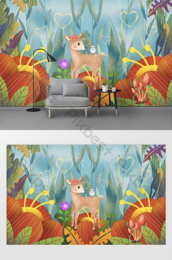 moderno hermoso pintado a mano flores romántico ciervo amor habitación de los niños fondo pared Decoración y modelo Modelo PSD