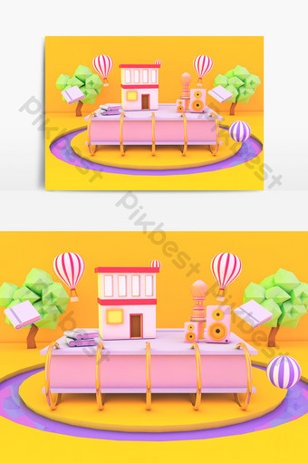 c4d yuereading電子商務小場景舞台模型 裝飾·模型 模板 C4D
