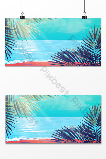 Tropical cartoon seaside vacation leisure activity entertainment background map Backgrounds Template PSD